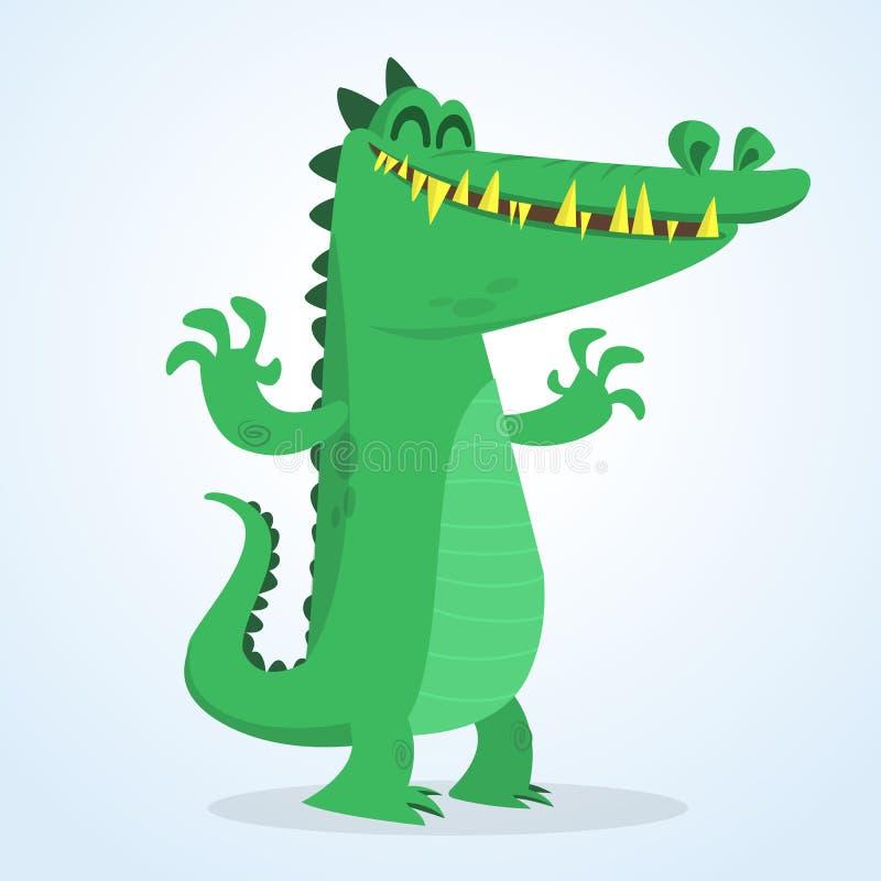 逗人喜爱的动画片鳄鱼 导航一条绿色鳄鱼挥动的ahands的例证 查出在白色 皇族释放例证
