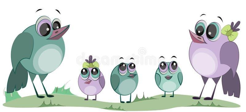 逗人喜爱的动画片鸟 鸟家庭  妈妈、爸爸和孩子 皇族释放例证