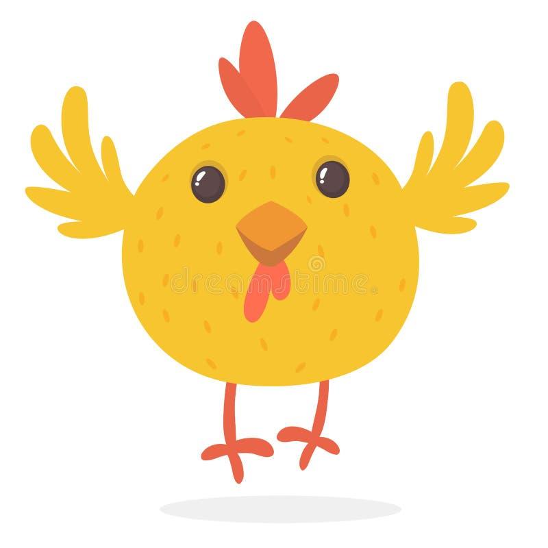 逗人喜爱的动画片黄色鸡眨眼睛眼睛 动物农场横向许多sheeeps夏天 一只逗人喜爱的鸡的传染媒介例证 库存例证