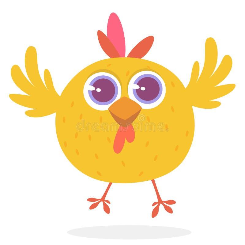 逗人喜爱的动画片黄色鸡 动物农场横向许多sheeeps夏天 一只逗人喜爱的鸡的传染媒介例证 皇族释放例证