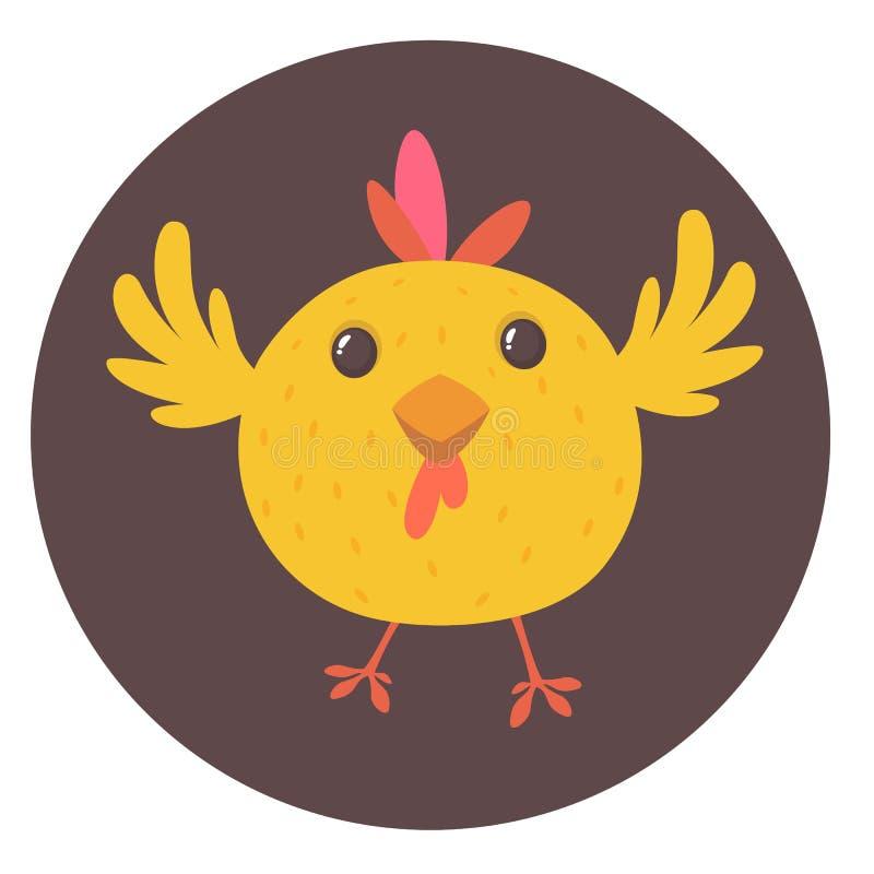 逗人喜爱的动画片黄色鸡 动物农场横向许多sheeeps夏天 一只逗人喜爱的鸡的传染媒介例证 为在白色隔绝的印刷品装饰嘲笑  库存例证