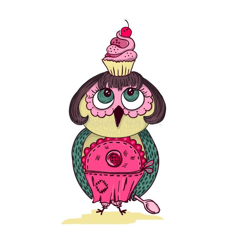 逗人喜爱的动画片上色了与蛋糕的猫头鹰在头 皇族释放例证