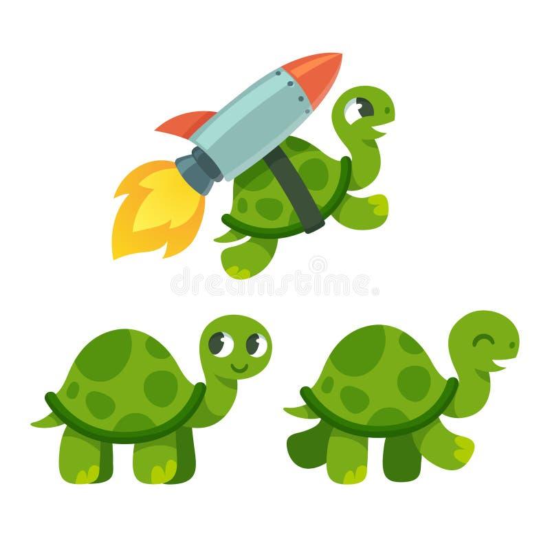逗人喜爱的动画片乌龟 库存例证