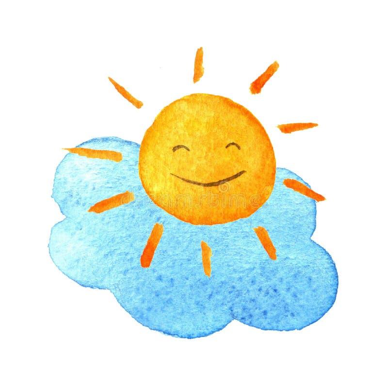 逗人喜爱的动画片云彩和阳光 手拉的水彩例证微笑的太阳 库存例证