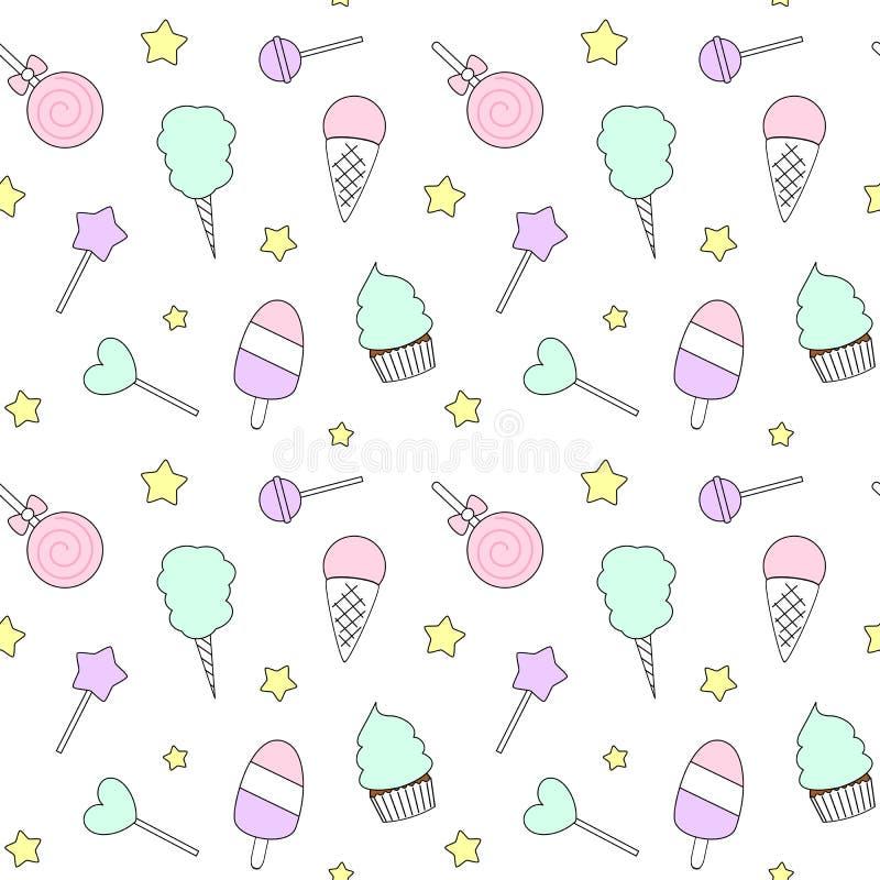 逗人喜爱的动画片五颜六色的无缝的样式用糖果、冰淇凌、棒棒糖和棉花糖 库存例证
