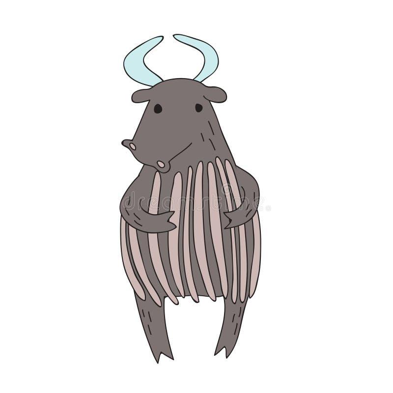 逗人喜爱的动画片公牛或牦牛字符,传染媒介隔绝了在简单的样式的例证 库存例证