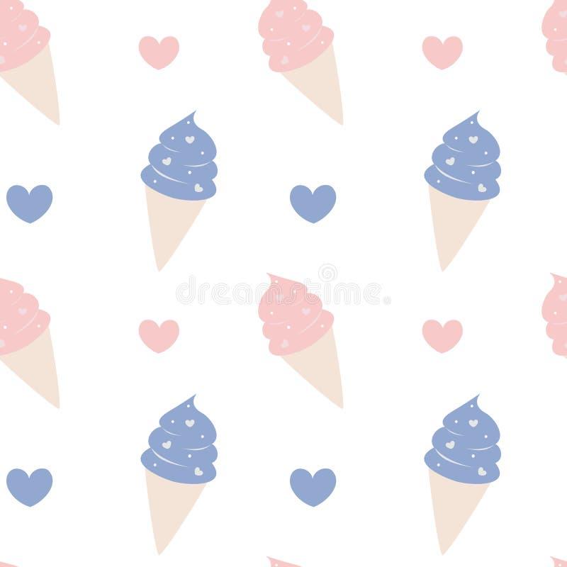 逗人喜爱的动画片冰淇凌桃红色和蓝色可爱的无缝的样式背景例证 库存例证