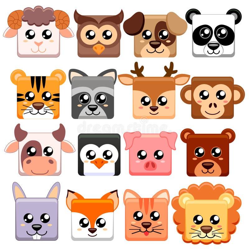 逗人喜爱的动画片动物头squar形状 熊,猫,狗,猪,兔子,母牛,鹿,狮子,绵羊,老虎,猫头鹰,熊猫,浣熊,猴子, pe 皇族释放例证