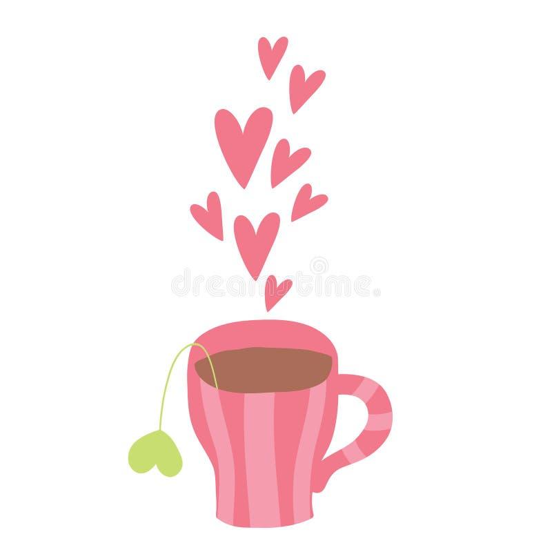 逗人喜爱的动画片咖啡与心脏的 库存例证