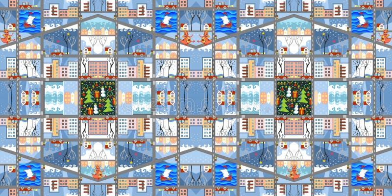 逗人喜爱的动画片地图 冬天城市的无缝的样式 库存例证