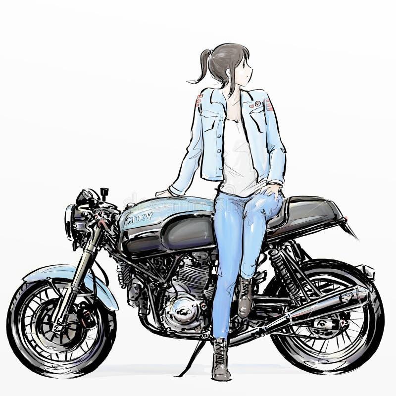 逗人喜爱的动画片女孩骑马摩托车 免版税库存图片