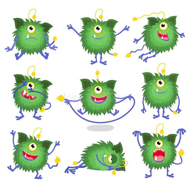逗人喜爱的动画片妖怪用不同的姿势 库存例证
