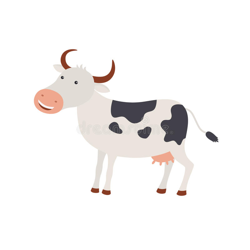逗人喜爱的动画片愉快的母牛例证 库存例证