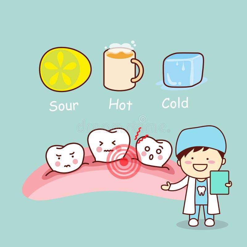 逗人喜爱的动画片敏感牙 向量例证