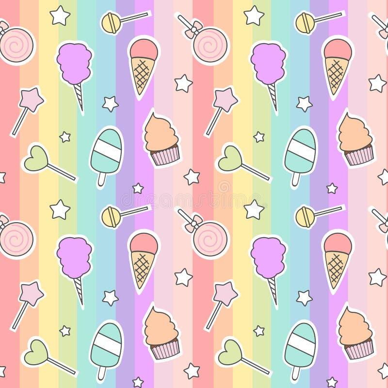 逗人喜爱的动画片无缝的样式用糖果、冰淇凌、棒棒糖和棉花糖在五颜六色的条纹 库存例证