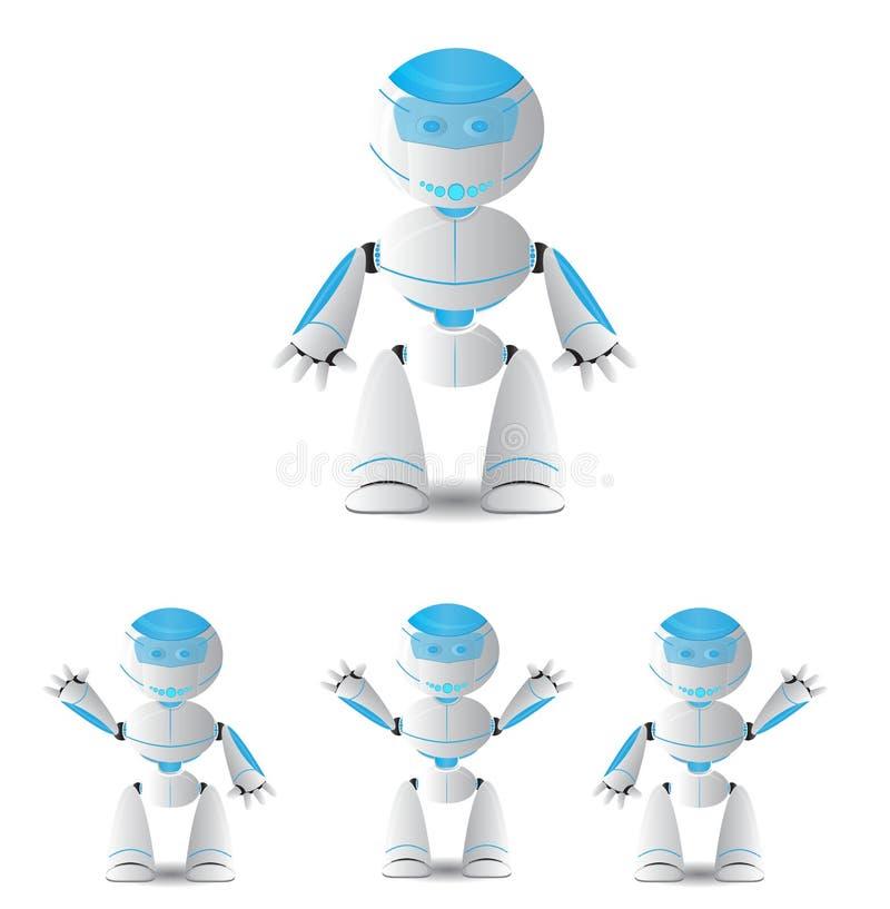 逗人喜爱的动画片机器人字符 皇族释放例证