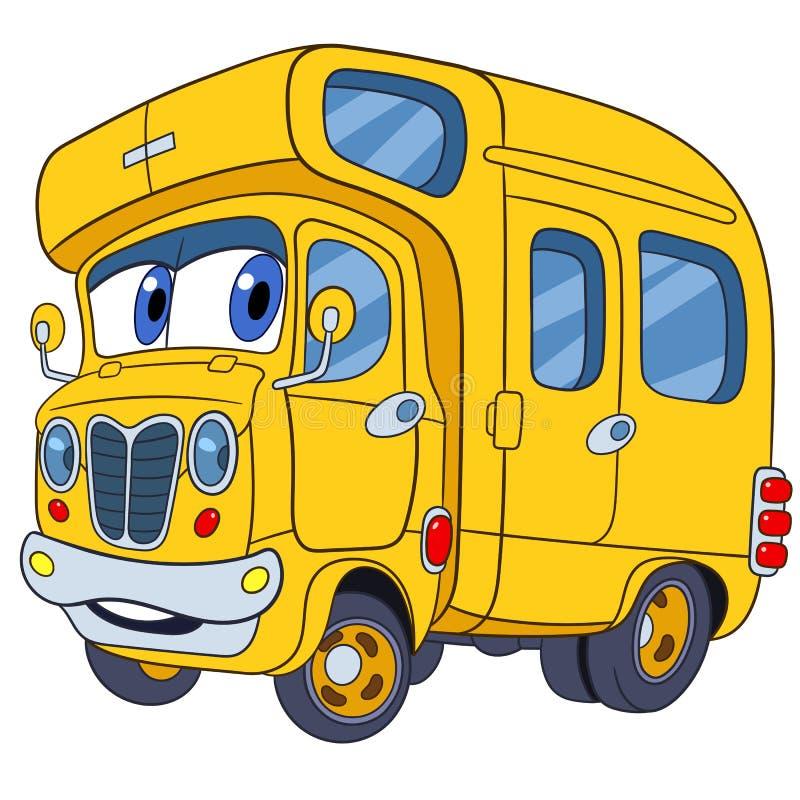 逗人喜爱的动画片校车 向量例证