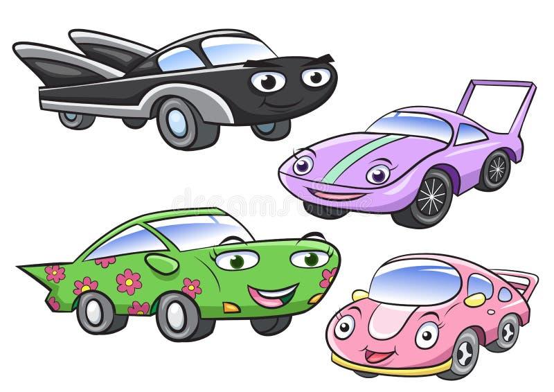 逗人喜爱的动画片汽车字符的传染媒介例证 向量例证