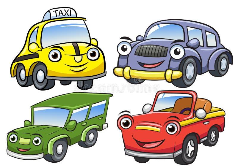 逗人喜爱的动画片汽车字符的传染媒介例证 库存例证