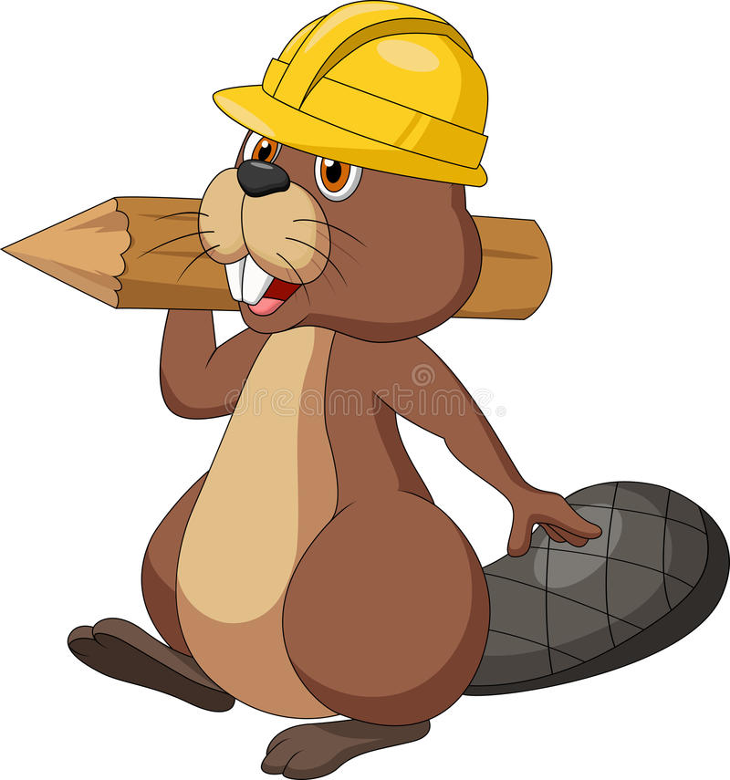 逗人喜爱的动画片海狸佩带的安全帽子和拿着木日志 皇族释放例证