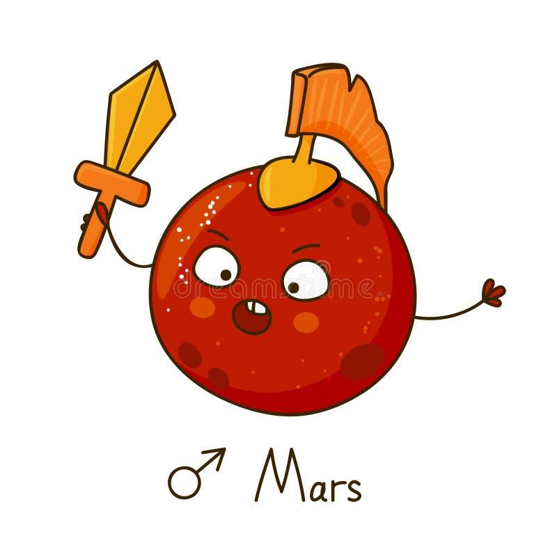 逗人喜爱的动画片火星 库存例证