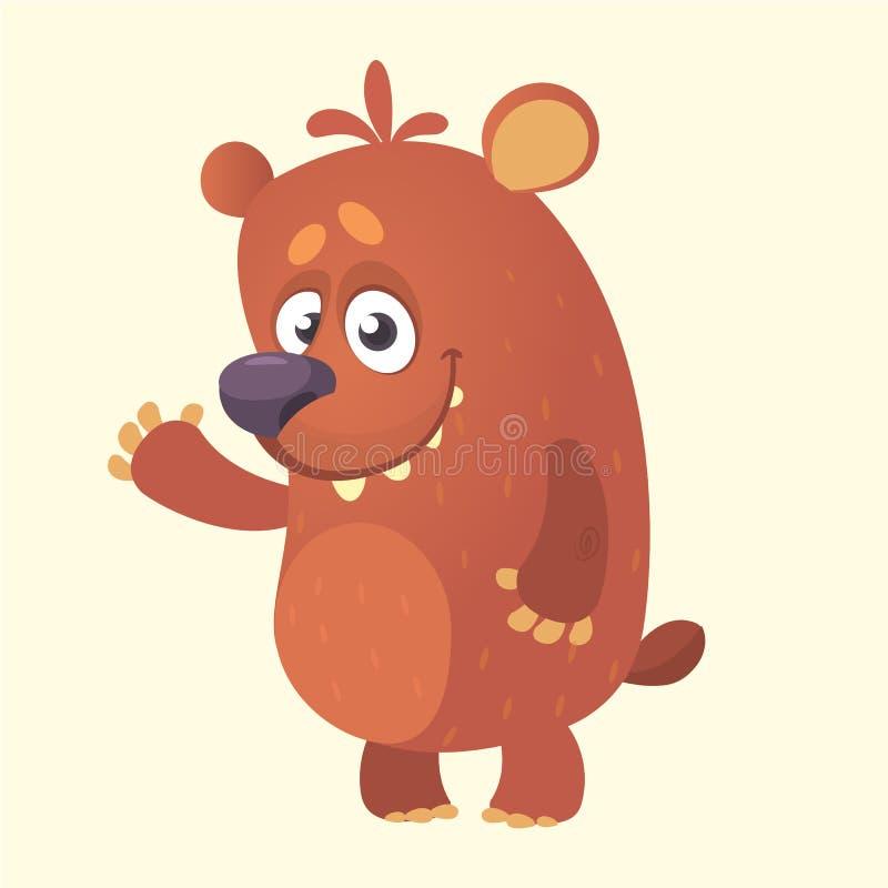 逗人喜爱的动画片熊字符 熊挥动的手的传染媒介例证 查出在白色 向量例证