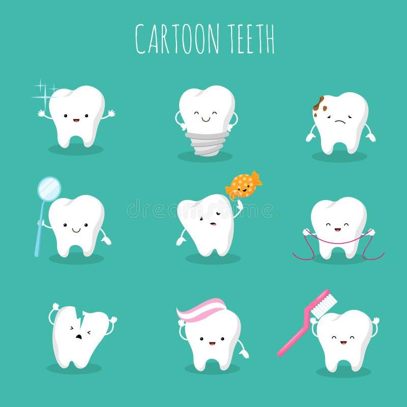 逗人喜爱的动画片牙传染媒介集合 乳齿健康与卫生象 库存例证