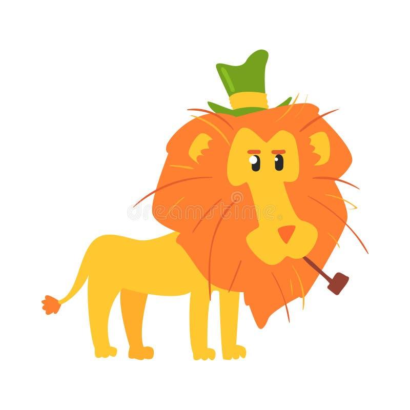 逗人喜爱的动画片狮子ih一顶绿色高顶丝质礼帽 非洲动物五颜六色的字符传染媒介例证 向量例证