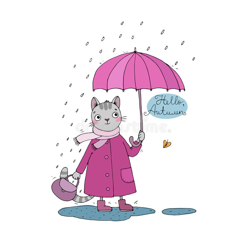 逗人喜爱的动画片猫、伞、雨和水坑 皇族释放例证