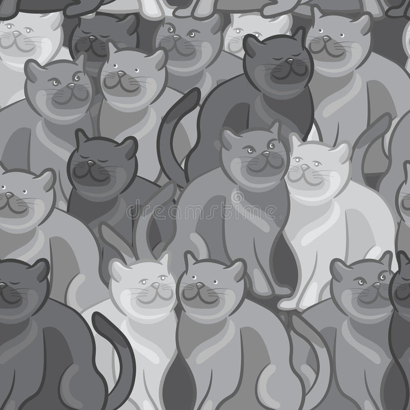 逗人喜爱的动画片猫的无缝的样式 例证 库存例证