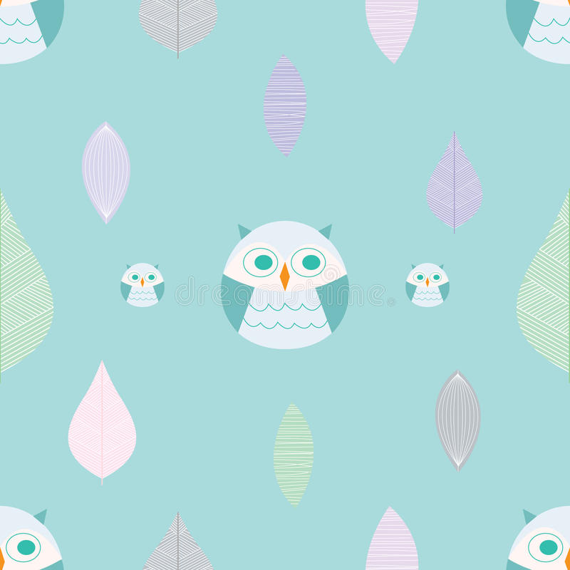逗人喜爱的动画片猫头鹰和叶子样式2 免版税库存照片