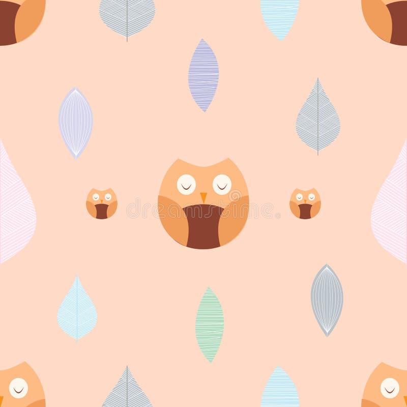 逗人喜爱的动画片猫头鹰和叶子样式4 免版税图库摄影
