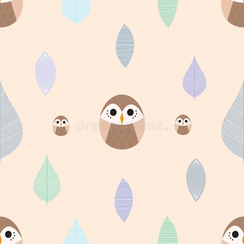 逗人喜爱的动画片猫头鹰和叶子样式1 免版税库存照片