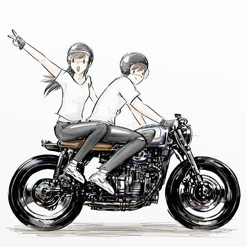 逗人喜爱的动画片男孩和女孩骑马摩托车 库存图片