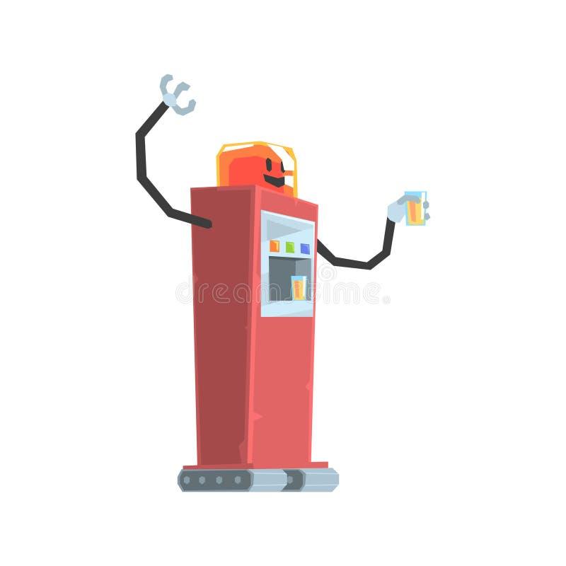 逗人喜爱的动画片红色机器人苏打自动售货机字符传染媒介例证 皇族释放例证