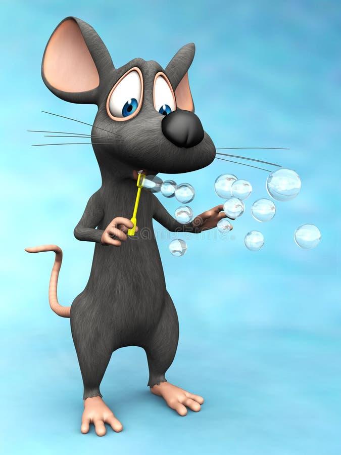 逗人喜爱的动画片老鼠吹的肥皂泡 库存例证