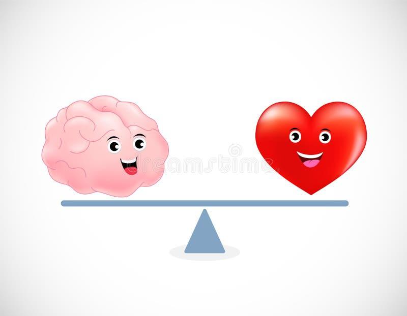 逗人喜爱的动画片脑子和心脏在等级 库存例证