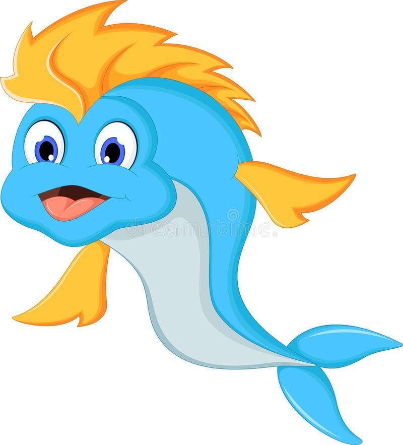 逗人喜爱的动画片蓝色鱼 向量例证