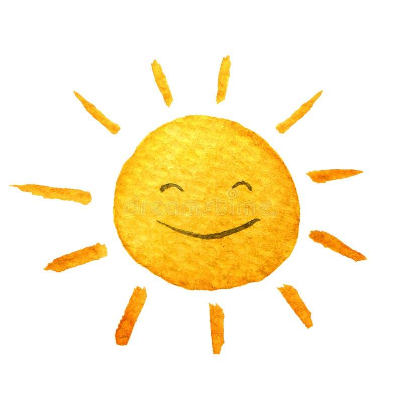 逗人喜爱的动画片阳光 手拉的水彩例证微笑的太阳图片