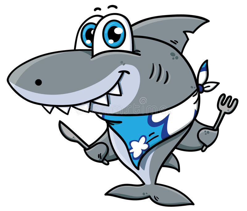 逗人喜爱的动画片鲨鱼 库存例证