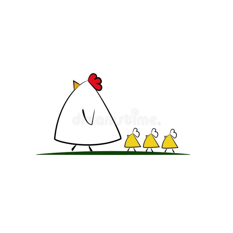逗人喜爱的动画片鸡家庭 免版税库存照片