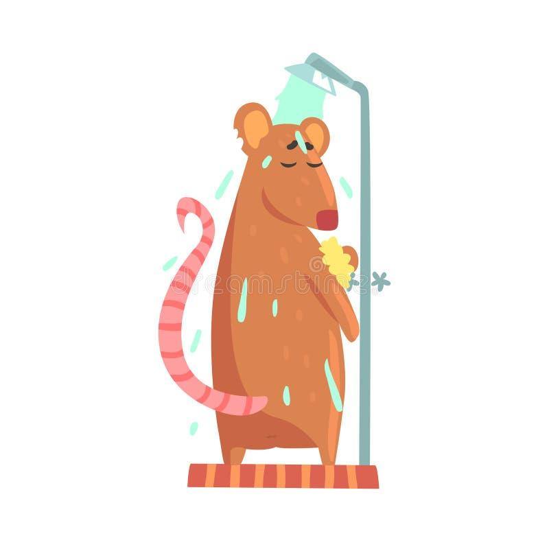 逗人喜爱的动画片鼠摩擦泡沫海棉擦洗的沐浴,当站立在阵雨客舱五颜六色的字符,动物修饰时 向量例证