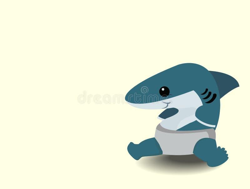 逗人喜爱的动画片婴孩鲨鱼 皇族释放例证