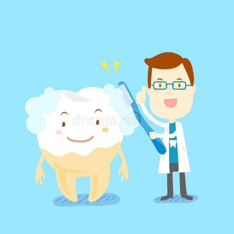 逗人喜爱的动画片医生刷子牙 向量例证