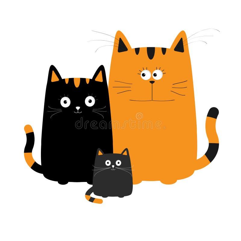 逗人喜爱的动画片滑稽的猫科 母亲、父亲和男婴小猫 皇族释放例证