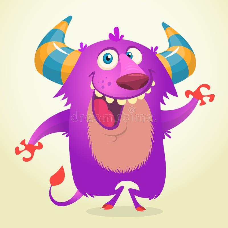 逗人喜爱的动画片紫罗兰色有角和蓬松妖怪微笑 万圣节向量例证 库存例证