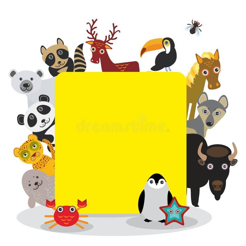 逗人喜爱的动画片动物设置了toucan鹿浣熊马狼北美野牛企鹅海星螃蟹封印豹子熊猫北极熊,在白色的框架 向量例证