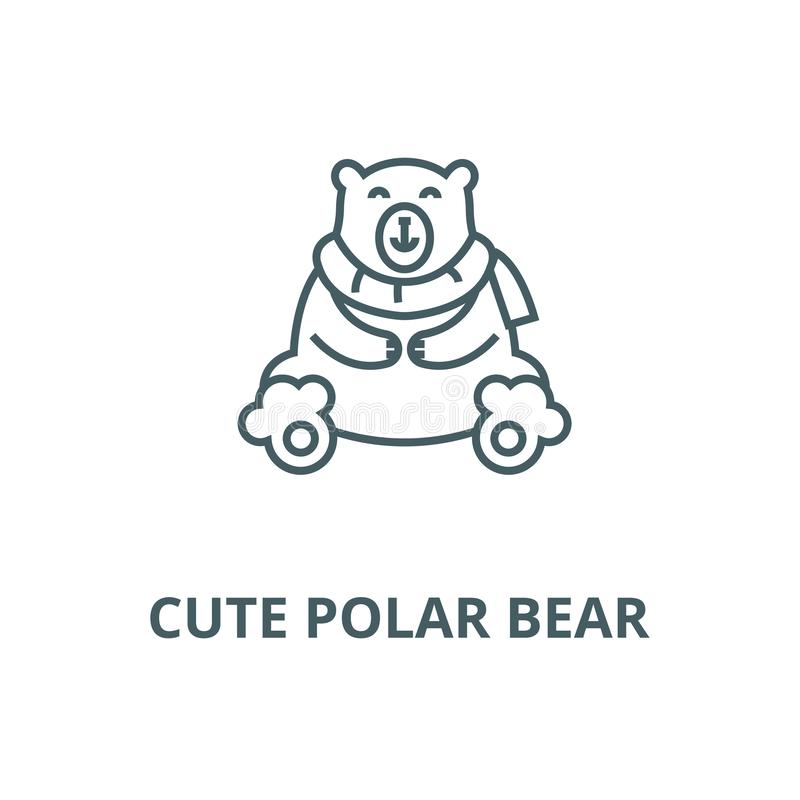 逗人喜爱的北极熊线象,传染媒介 逗人喜爱的北极熊概述标志,概念标志,平的例证 库存例证