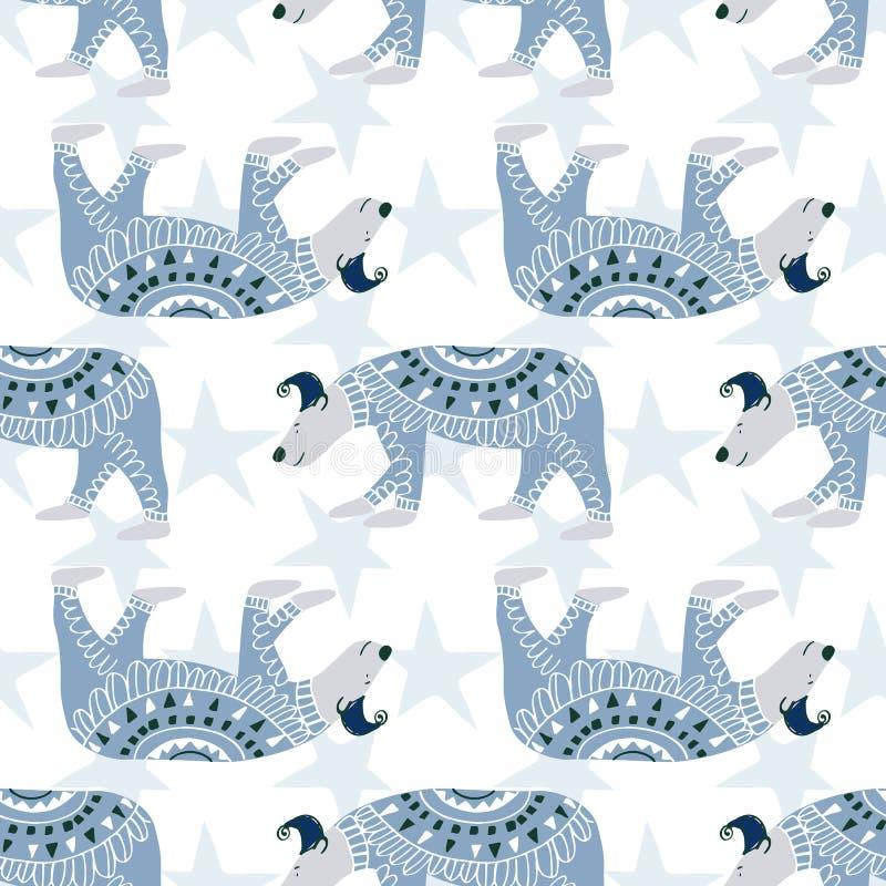 逗人喜爱的北极熊 无缝的传染媒介样式手中凹道样式 皇族释放例证