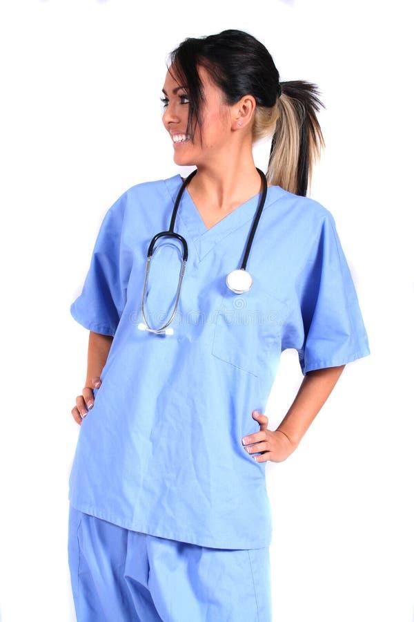 逗人喜爱的医生女性医疗护士工作者 免版税图库摄影